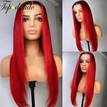 Topodmido бразильские волосы с красной подсветкой Цвет Синтетические волосы на кружеве парики 13x6, прямые волосы Remy человеческие волосы парик пр...