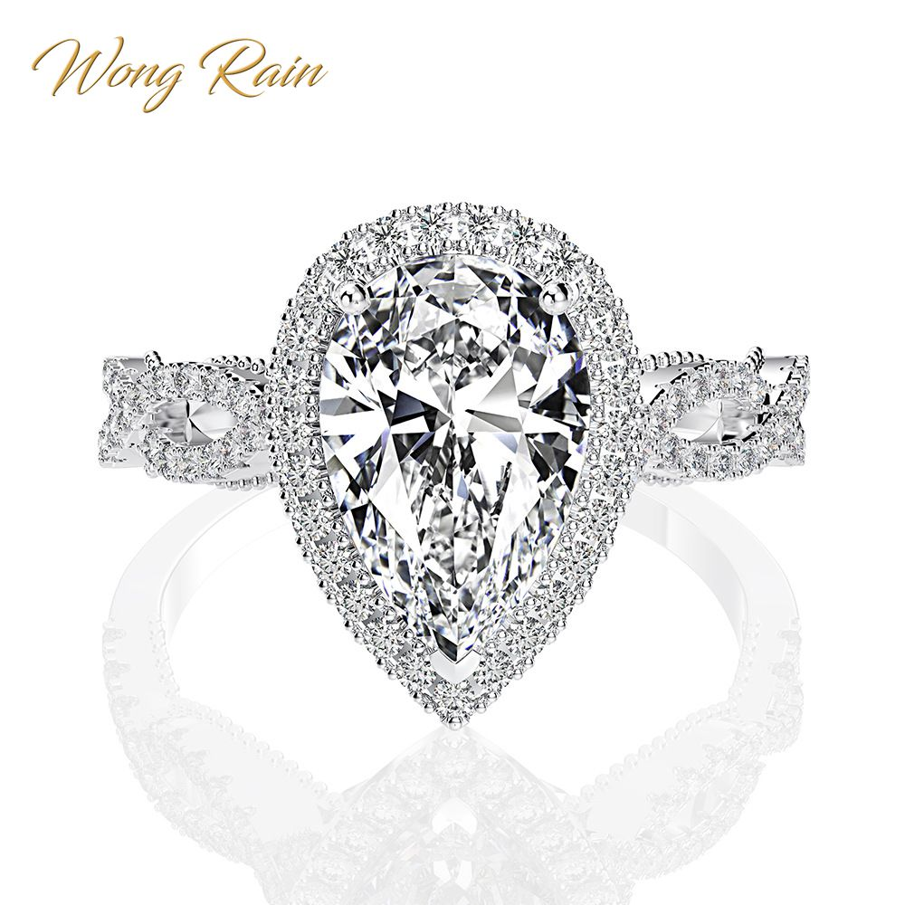 Wong Rain Luxury 100% 925 Sterling Silver 6 CT Pear Created Moissanite Gemstone Wedding Engagement Ring Fine Jewelry Wholesale