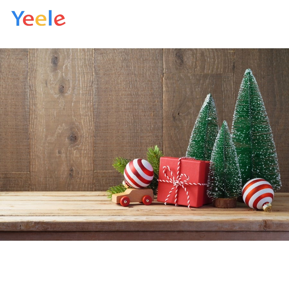 Yeele Christmas Tree Wood Board Gift Toy Backdrop Baby Portrait Photography Background For Photo Studio Photophone Photobooth