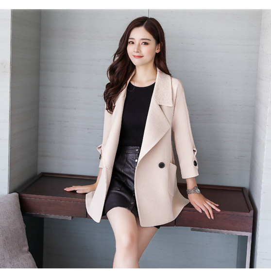 Autumn jacket women M-2XL plus size pink green beige coat 19 new long sleeve lapel fashion short paragraph jacket feminina LR484 38