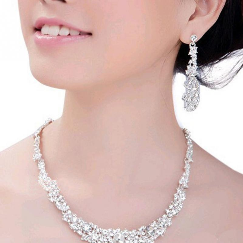 New Elegant Bridal Jewelry Sets Women Wedding Jewelry Rhinestone Crystal Silver Color Necklaces Earrings Sets#137