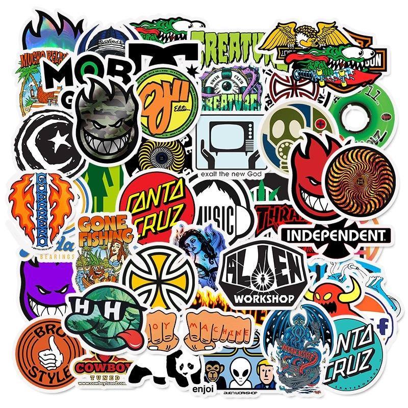 50PCS Brand Logo Sticker Graffiti Stickers For DIY Sticker On Travel Case Laptop Skateboard Guitar Fridge Phone Decal Luggage
