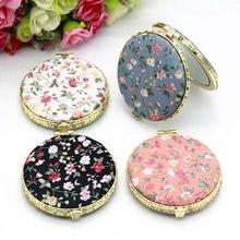 Mini espelho compacto de bolso para maquiagem, espelho cosmético vintage de dois lados, floral, 1 peça para presente