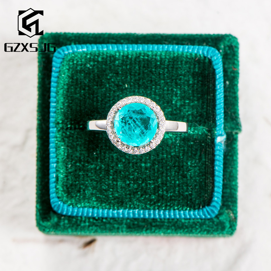 GZ Brazilian Paraiba Tourmaline Gemstone Ring for Women genuine 925 Sterling Silver ring for engagement Party new arrival 2020