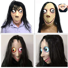High quality New Death game MOMO mask SCARY Mask tern hot Halloween female ghost Ugly woman silicone
