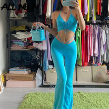 ALLNeon Y2K Streetwear Sexy Bandage Blue Co-ord Suits 2000s Fashion Drawstring Halter Top and High Waist Flare Pants 2 Piece Set