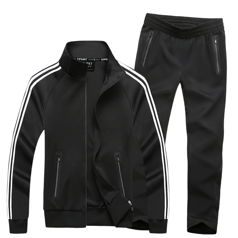 Sports Set Men Spring And Autumn Thin Middle-aged Dad Clothing Extra-large Two-Piece Set Running Hoodie Coat Fashion