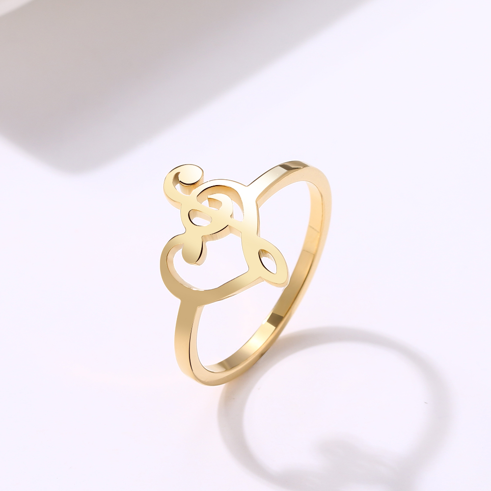 Music Symbols Heart of Treble and Bass Clef Fashion Gold Ring