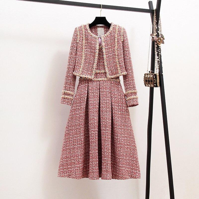 Kadın Giyim'ten Kadın Setleri'de Yeni 2019 Sonbahar Yüksek Kaliteli Kadın 2 Parça Set Tüvit Kısa Ceket Ceket + Boncuk Yelek Elbise Zarif Moda Parti elbiseler 2 Takım'da  Grup 1
