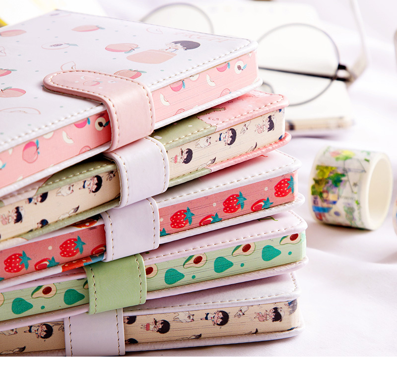 Fruit Print Notebook Planner Magnetic Buckle PU NoteBook Yearly Agenda Color Illustration Daily Plan Bullet Journal Stationery