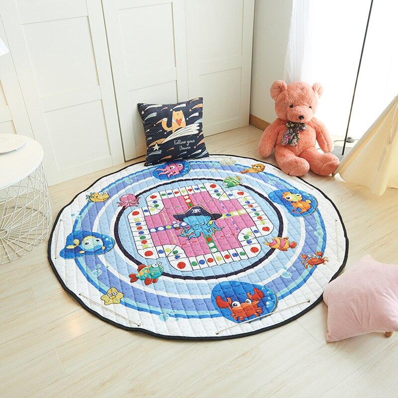 H8d277826663e443aaec57c080bcdf9aa3 Kid Soft Carpet Rugs Cartoon Animals Fox Baby Play Mats Child Crawling Blanket Carpet Toys Storage Bag Kids Room Decoration
