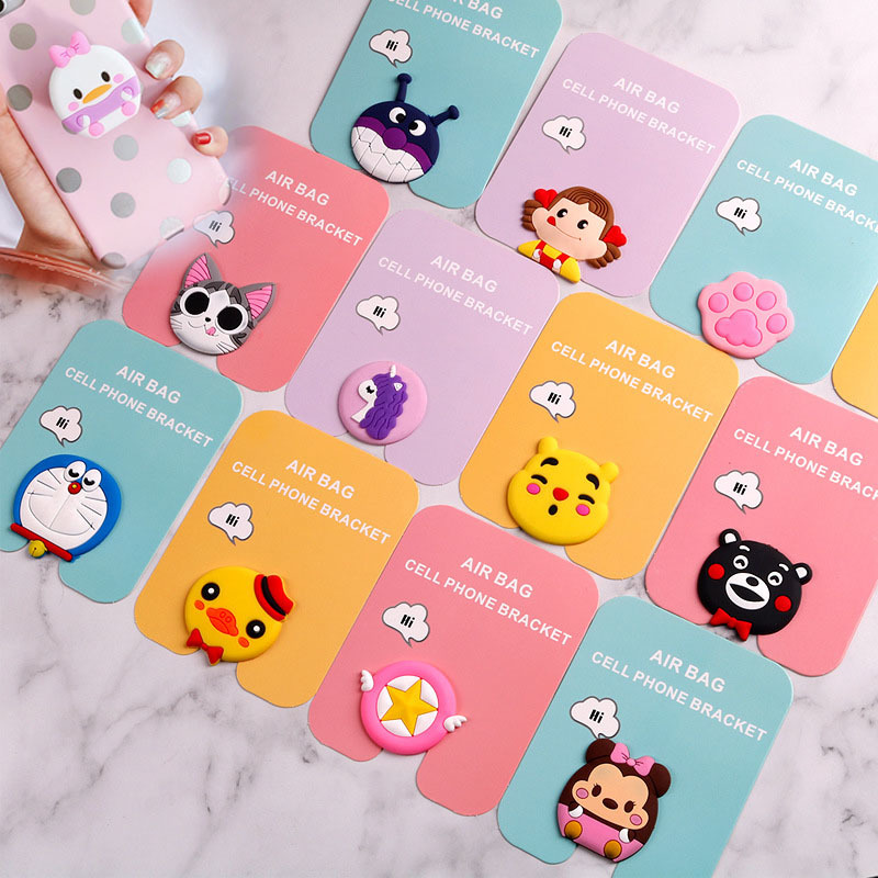 360 Rotatable Silicone Phone Expanding Stand And Grip, Cute Cartoon Fashion Figure Toys Phone Squishy Stand Grip Squeeze Toys