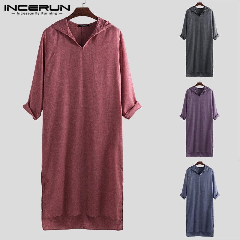 INCERUN Plus Size Men Kaftan Vintage Hooded Long Sleeve Loose Dress Robes Islamic Arab Muslim Clothes Men Saudi Arabia Kaftan