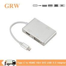USB 3.1 المحور 4 في 1 USB 3.1 USB C نوع C إلى HDMI VGA DVI USB 3.0 محول كابل لأجهزة الكمبيوتر المحمول أبل محور الخائن USB C تحويل محور