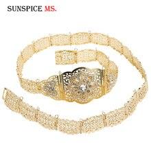 Aristocratic Women Caftan Crystal Flower Metal Waist Chain Adjustable Length Body Jewelry Bridal Wedding Dress Belt Bridal Gifts