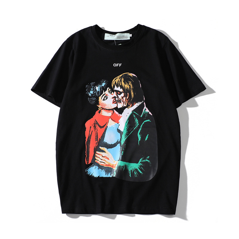 Europe And America Popular Brand Off Ow Ren Gui Qing Not Art Printed White Summer Wear Men And Women Couple Clothes Short-sleeve