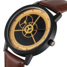 Высококачественные кожаные мужские часы с циферблатом кварцевые