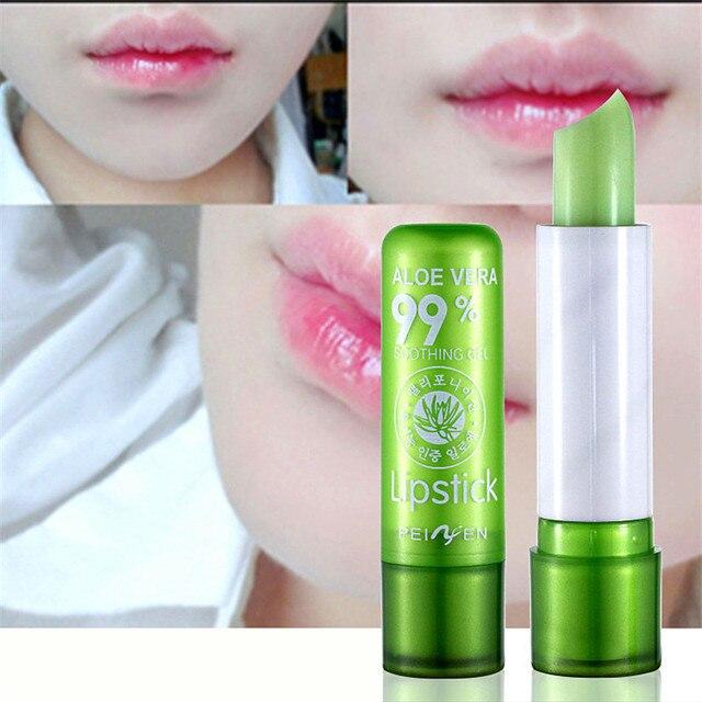 Natural Aloe Vera Lip Balm Temperature Color Changing Long Lasting Moisturizing Lipstick Makeup Lips Protection Makeup 4