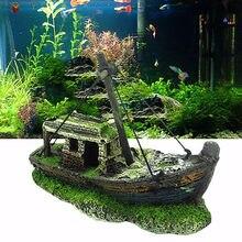 Ornamento de barco de resina de aquário pequeno paisagístico aquário pirata tanque de peixes barco ornamento artificial resina naufrágio navio pirata