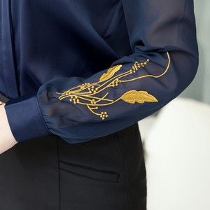Image 5 - Professional Satin Shirt Women 2019 New Autumn Fashion Embroidered Long Sleeve Slim Blouses Office Ladies Work Tops