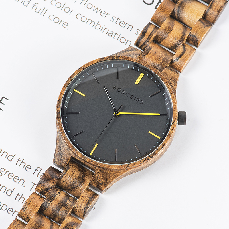Image 4 - BOBOBIRD montre homme 2019 Watches Mens Wood Timepiece Wristwatch with Gift Wooden Box Dropshipping V S27-in Quartz Watches from Watches