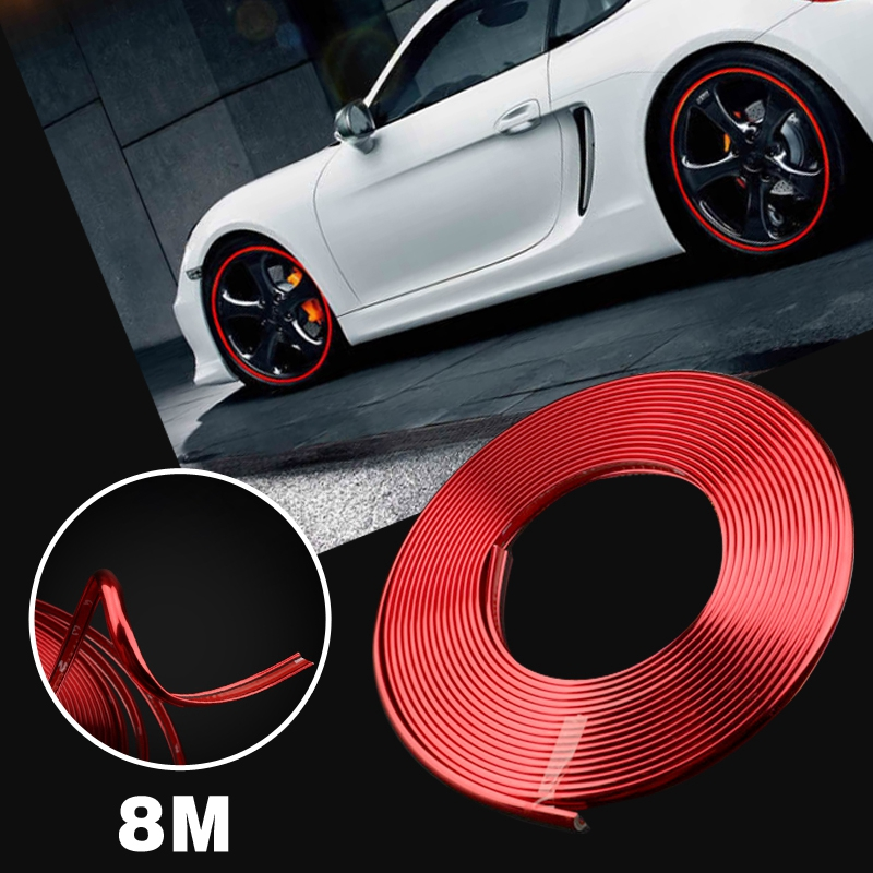 Universal Red 8M <font><b>Car</b></font> <font><b>Wheel</b></font> <font><b>Hub</b></font> Rim Trim <font><b>Tire</b></font> Ring Guard Rubber Strip Protector Decor Exterior Parts Styling Mouldings <font><b>Stickers</b></font> image