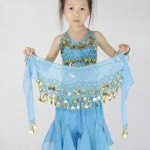 Дети танец живота хип шарф аксессуары 3 ряда пояс юбка с золотым танца живота тон монеты талии цепь обмотка Одежда для танцев