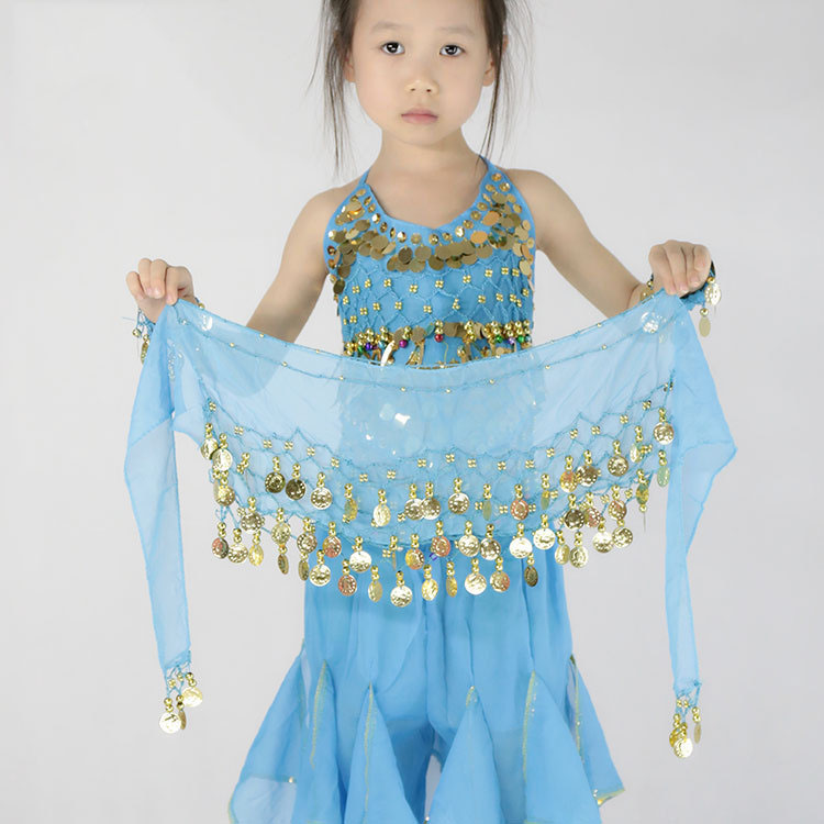 Children Kids Belly Dance Hip Scarf Accessories 3 Row Belt Skirt With Gold Bellydance Tone Coins Waist Chain WrapDance Wear