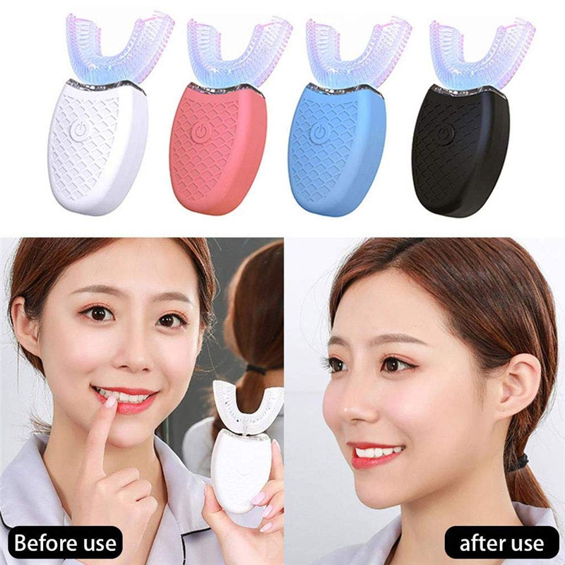 Electric Toothbrush 360 Degrees U Type Utomatic USB Rechargeable Teeth Whitening Oral Care Massage U Type Tooth Brush