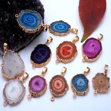 Natural original agate polishing stone plating  pendant hand foot chain diy accessories natural blue slice
