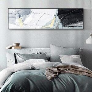 Pintura sobre lienzo de Arte Moderno nórdico línea abstracta agua ondulada pared arte gris ilustraciones imágenes para sala dormitorio escandinavo Deco