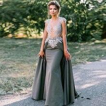 Eighree Атласное Вечернее платье русалки кружевное со съемным