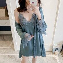 Nightwear Sleepwear Satin Bathrobe-Sets Lace Silk Sexy Women New Summer Soft Female Elegant