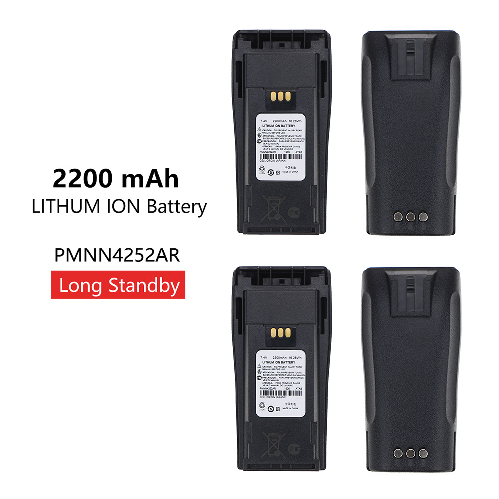 2 Pcs 2200mAh PMNN4252AR Replacement Li-thium Battery For Motorola CP040 CP150 DP1400 Radios With Belt Clip
