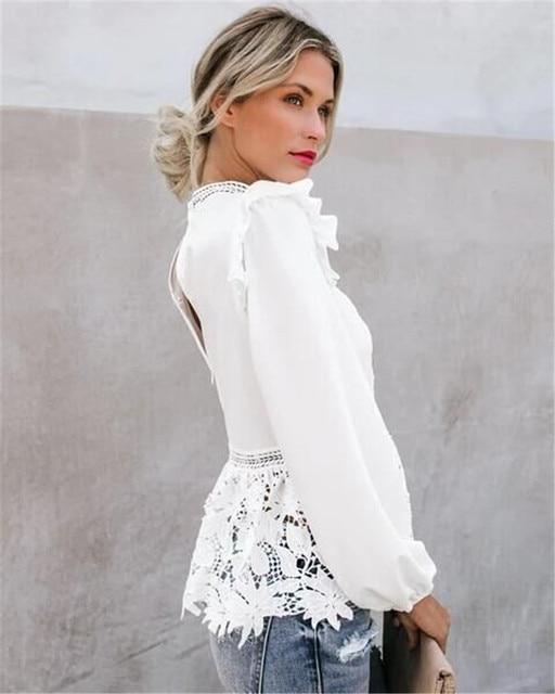 Women Elegant Long Sleeve Lace White Blouses Tops Summer Fall Retro Blouse Shirts harajuku 3