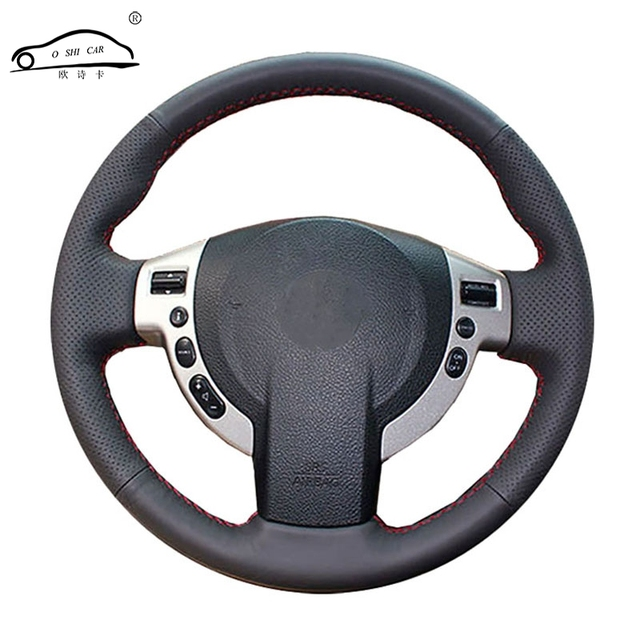 Sztuczna skóra osłona na kierownicę do samochodu dla Nissan QASHQAI x trail Nissan NV200 Rogue/wykonane na zamówienie dedykowane kierownicy