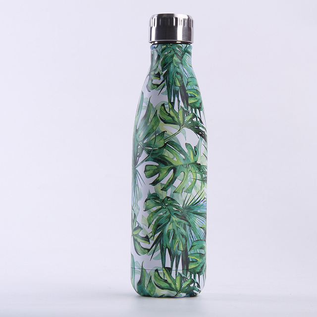 Dropshipping Leaf Water Bottle Stainless Steel Thermos Flask Gym Insulated Cold Cup Mug type1 120-142