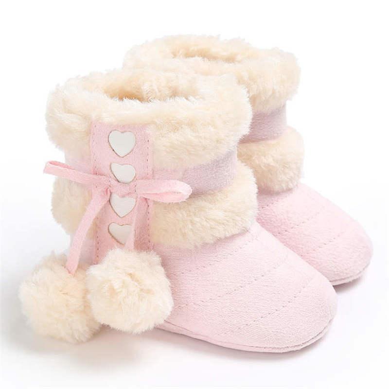 2019 hiver neige bébé bottes 7 couleurs chaud peluches balles intérieur coton doux caoutchouc semelle infantile nouveau-né enfant en bas âge bébé chaussures
