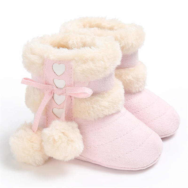 2019 Winter Snow Baby Boots 7-Colors Warm Fluff Balls Indoor Cottton Soft Rubber Sole Infant Newborn Toddler Baby Shoes