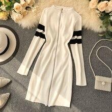 Mooirue Vintage Kintting Sweater Mini Dress Women Autumn Striped Zipper Sheath Short Party Harajuku Streetwear Vestido