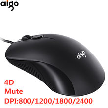 Aigo 4D Usb Muis Bedrade Gaming Muis Stille Optische Muis 2400 Dpi Computer Muis Compatibel Met Pc/Laptop/computer/Desktop(China)