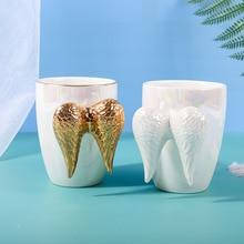 Asas de anjo canecas de café copos de cerâmica e canecas handpaint mark criativo drinkware