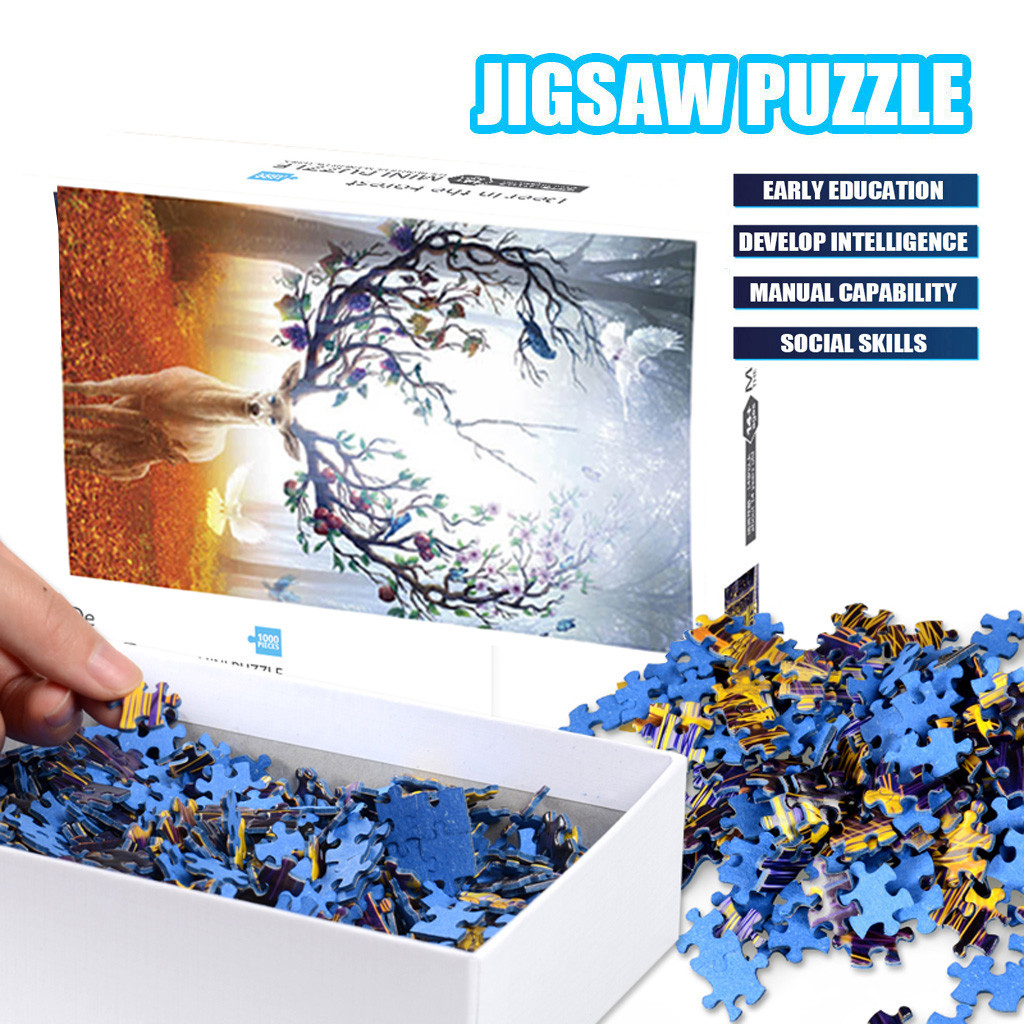 1000 Pieces Jigsaw Puzzle Children's Adult Wooden Puzzle Intelligence Educational Game Toys kids Jigsaw Puzzle toys Stickers 23