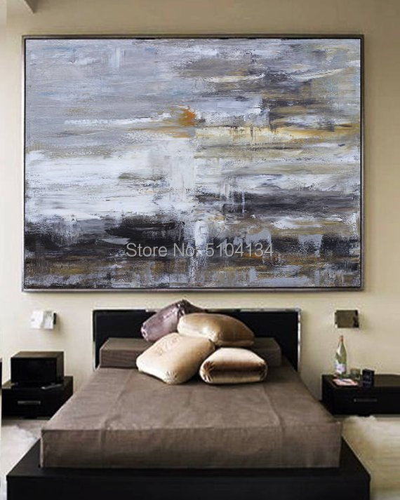 Large original abstract oil painting Contemporary Hand-painted wall Art decor Black white Oil paintings gray large canvas
