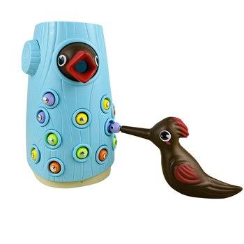 Divertido juego interactivo padres niños con insectos pájaro magnético vida como educación temprana juguete de pájaro carpintero comiendo gusano captura