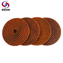 RIJILEI 4PCS Super 5inch Diamond polishing pads 125mm Copper bond wet polishing pad for granite marble concrete Grinding Disc