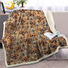 بطانية شيربا من العلامة التجارية بليسيليفينج ، بطانية ذهبية على سرير ، مجموعة رمي الكلب ، بطانية للأطفال ، حيوانات الكلب ، مفارش لينة مانتا