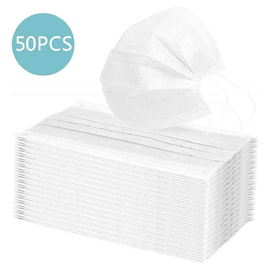 10/20/50/100/200 PC White Dustproof Face Mask Disposable Non-Woven 3-Layer Unisex Ear Loop Anti-Drip Mouth Face Mask Wholesale
