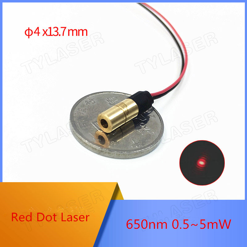 D4X13.7mm  635nm 1mW 5mW Red Dot Laser Module Industrial Grade APC Driver Class I