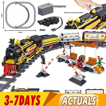 1464pcs RC Technic Battery Powered Electric Classic City Train Rail Building Blocks Bricks Toys for Kids Christams Gifts